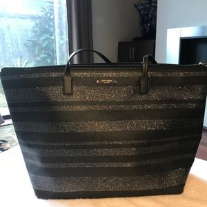 Kate Spade black and metallic striped tote